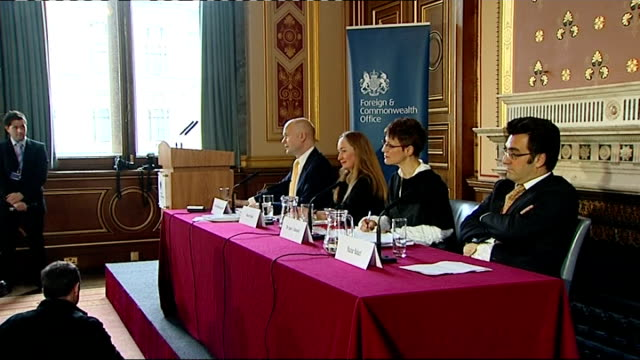 vídeos y material grabado en eventos de stock de moussa koussa defection to uk; england: london: foreign and commonwealth office: william hague mp seated with others william hague mp press... - abandonar