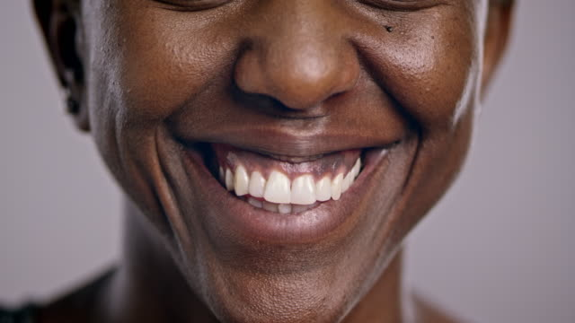 Mouth of a smiling African-American woman