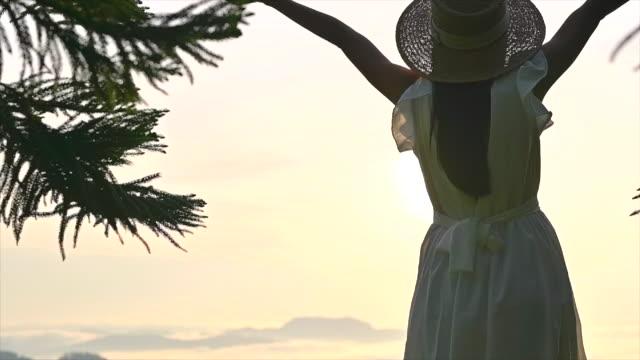 weiter zum naturmorgennebel - weißes kleid stock-videos und b-roll-filmmaterial