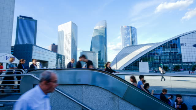 Movement of business people in office building zone, Paris, la defense