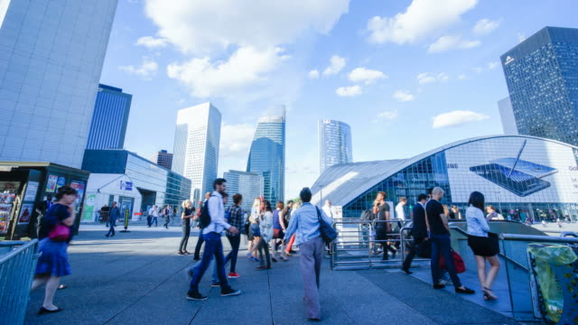 movement of business people in office building zone, paris, la defense - rush hour stock videos & royalty-free footage