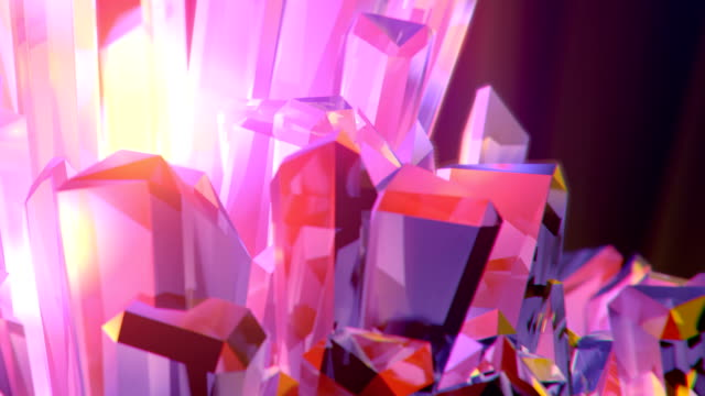 movement of the camera towards a crystal surrounded by smoke. slowly rotating diamond, close up. beautiful 3d rendering animation. depth of field. abstract art background. hd - shiny stock videos & royalty-free footage