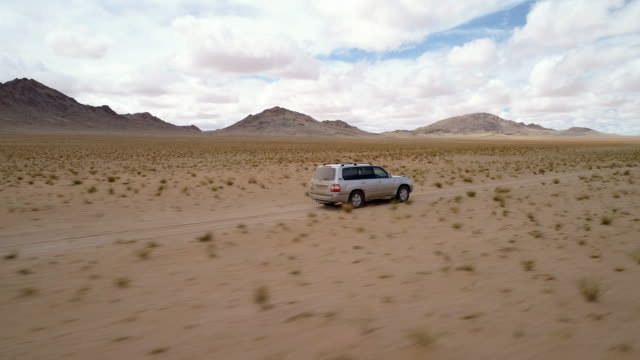 movement of the desert sand in the gobi valley. - sports utility vehicle stock-videos und b-roll-filmmaterial