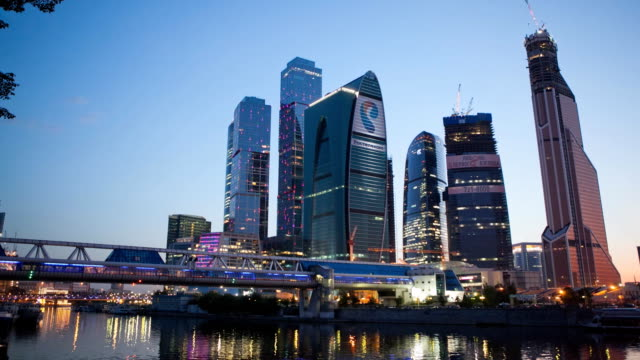 """tl movement on the waterfront overlooking the moscow """"moscow-city"""" / russia, moscow - moscow russia stock videos and b-roll footage"""