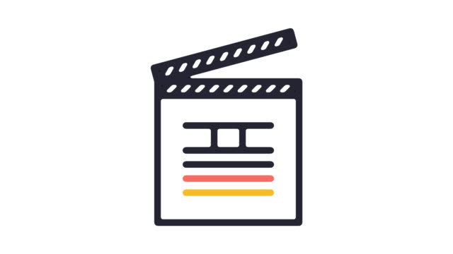 movie editing software line icon animation with alpha - film slate stock videos & royalty-free footage