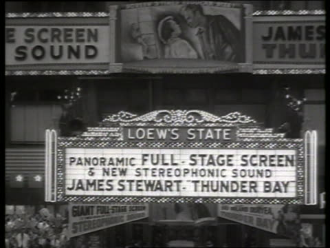 b/w 1954 movie marquee with film thunder bay listed / no sound - 1954 stock videos & royalty-free footage
