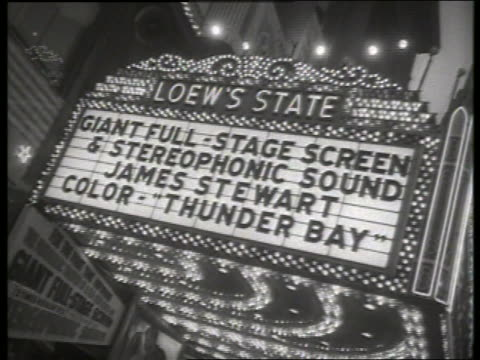 b/w 1954 movie marquee with thunder bay / no sound - 1954 stock videos & royalty-free footage
