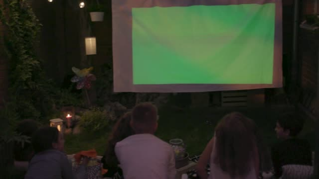 movie night in backyard - video stock videos & royalty-free footage