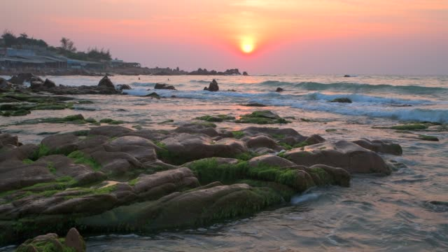 4k movie of seascape of vietnam strange rocks and moss at co thach beach, tuy phong, binh thuan province, vietnam - tide stock videos & royalty-free footage