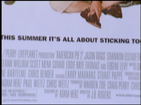 movie poster at the 'american pie 2' premiere on august 6, 2001. - premiere stock videos & royalty-free footage
