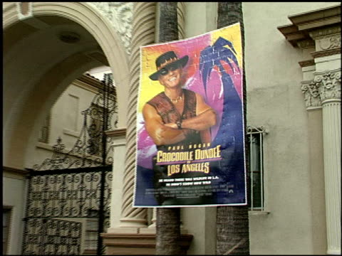 movie poster at the 'crocodile dundee in los angeles' premiere at paramount studios in hollywood california on april 18 2001 - movie poster stock videos & royalty-free footage