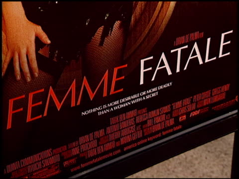 movie poster at the 'femme fatale' premiere at the cinerama dome at arclight cinemas in hollywood california on november 4 2002 - movie poster stock videos & royalty-free footage