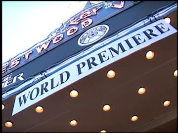 movie poster at the 'lara croft: tomb raider' premiere on june 11, 2001. - westwood neighborhood los angeles stock videos & royalty-free footage
