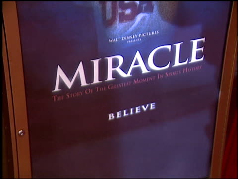 movie poster at the 'miracle' premiere at the el capitan theatre in hollywood california on february 2 2004 - el capitan kino stock-videos und b-roll-filmmaterial