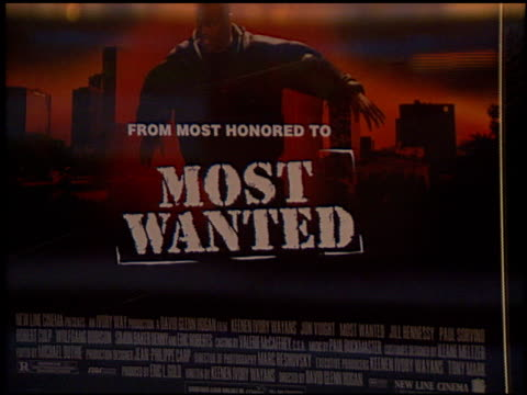 movie poster at the 'most wanted' premiere at cineplex odeon century plaza in century city california on october 7 1997 - odeon kinos stock-videos und b-roll-filmmaterial