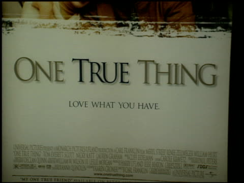 movie poster at the 'one true thing' premiere at cineplex odeon in century city, california on september 16, 1998. - odeon cinemas点の映像素材/bロール