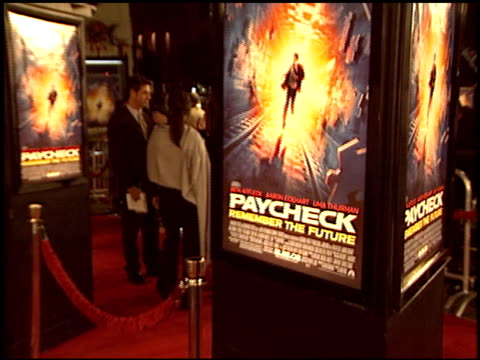 movie poster at the 'paycheck' premiere at grauman's chinese theatre in hollywood california on december 18 2003 - payslip stock videos & royalty-free footage