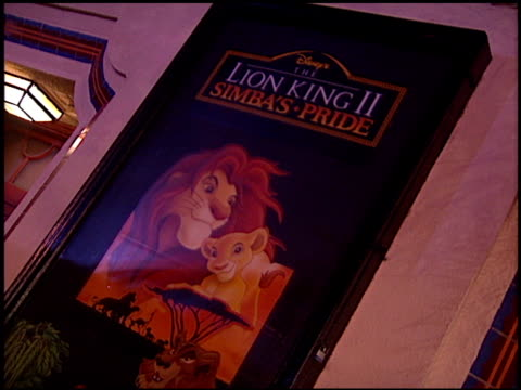 Movie Poster at the Premiere of 'The Lion King II Simba's Pride' at Wadsworth Theatre in Los Angeles California on October 20 1998