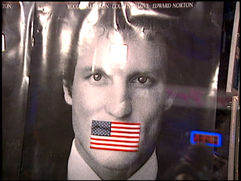 movie poster at the premiere of 'the people vs larry flynt' on december 2 1996 - movie poster stock videos & royalty-free footage