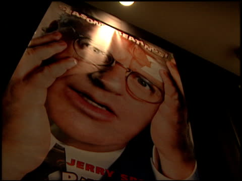 movie poster at the 'ringmaster' premiere with jerry springer at the cinerama dome at arclight cinemas in hollywood, california on november 12, 1998. - ringmaster stock videos & royalty-free footage