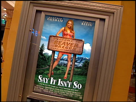 movie poster at the 'say it isn't so' premiere on march 12 2001 - movie poster stock videos & royalty-free footage