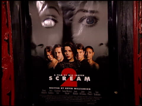 movie poster at the 'scream 2' premiere at grauman's chinese theatre in hollywood, california on december 10, 1997. - scream named work stock-videos und b-roll-filmmaterial