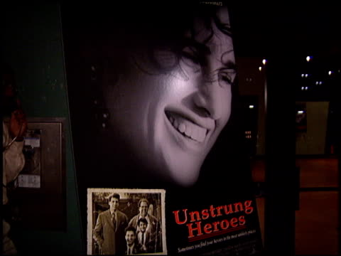 movie poster at the 'unstrung heroes' premiere at writers guild theatre in beverly hills california on september 7 1995 - movie poster stock videos & royalty-free footage
