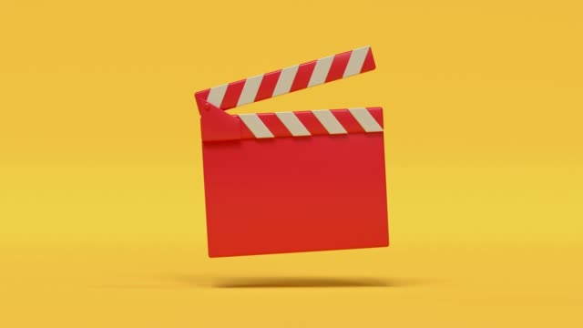movie slate red yellow cartoon style minimal 3d rendering cinema theater concept - arts culture and entertainment stock videos & royalty-free footage