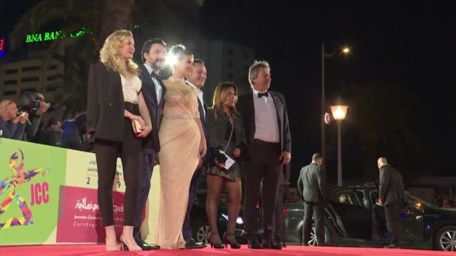 movie stars and filmmakers walk the red carpet at the opening of the carthage film festival - carthage tunisia stock videos & royalty-free footage