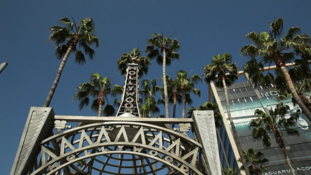 WS LA Movie studio gate and palm trees against blue sky / Hollywood, Los Angeles California, USA