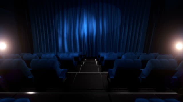 movie theater with luma/alpha matte (long tracking shot, blue) - curtain stock videos & royalty-free footage