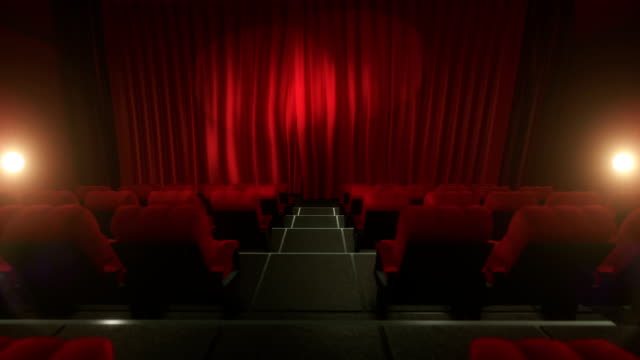 Movie theater with luma/alpha matte (short tracking shot, red)