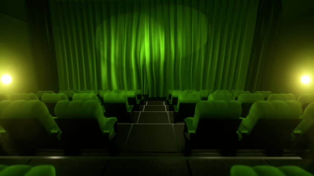Movie theater with luma/alpha matte (short tracking shot, green)