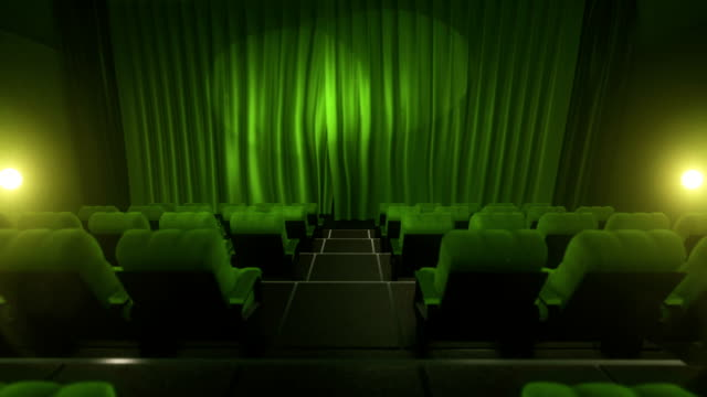 Movie theater with luma/alpha matte (long tracking shot, green)