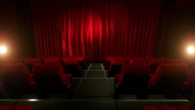 movie theater with luma/alpha matte (long tracking shot, red) - curtain stock videos & royalty-free footage