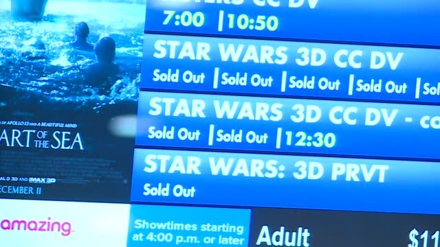 movie times for star wars episode vii listed on opening night at chicago movie theater on december 17, 2015. - ticket stock videos & royalty-free footage