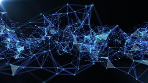 vídeos y material grabado en eventos de stock de red abstracta móvil de conexiones y puntos, concepto de tecnología futurista, volando en el espacio de la cuadrícula - plexo