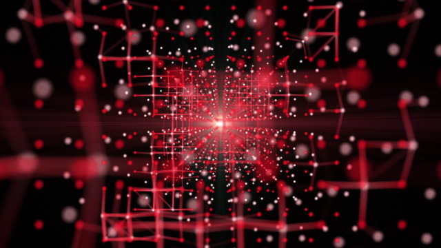 moving abstract grid of connections and dots, futuristic technology concept, flying into grid space - magnification stock videos & royalty-free footage