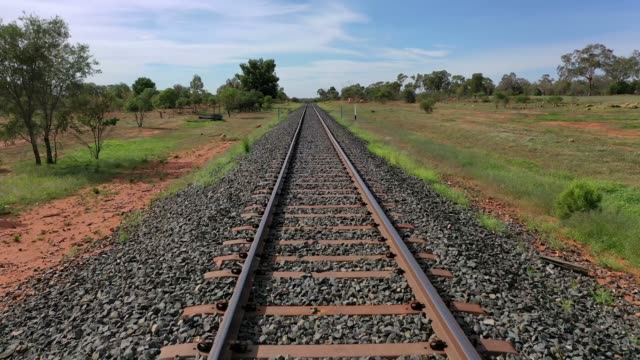 moving along a railway train track in rural australia - rail transportation stock videos & royalty-free footage
