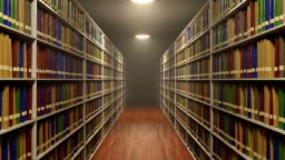 Moving between long bookshelves with a lot of books in old retro style library