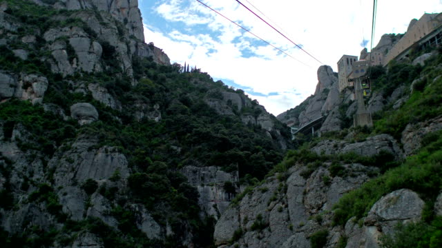 Moving by Cable Car Down from Montserrat Mountain, Catalonia, Spain