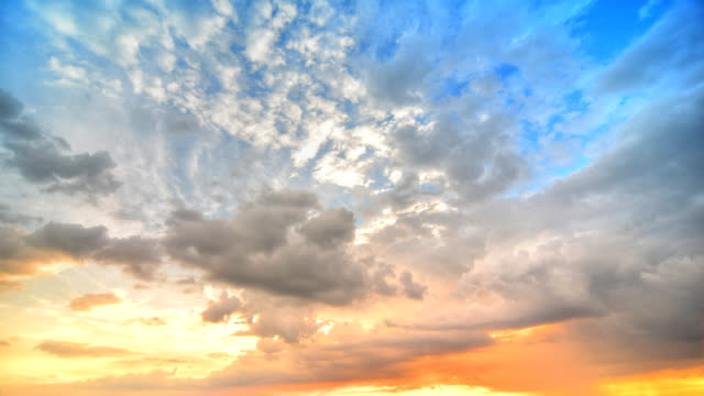 moving cloud at sunset (hdr) - dramatic sky stock videos & royalty-free footage