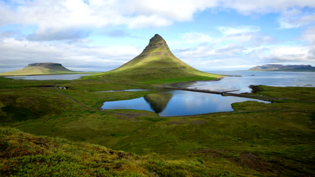 Moving cloud over the Kirkjufell mountain (Time-lapse), Iceland