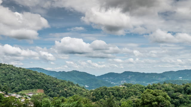 Moving cloud time-lapse of mountain country site in Thailand