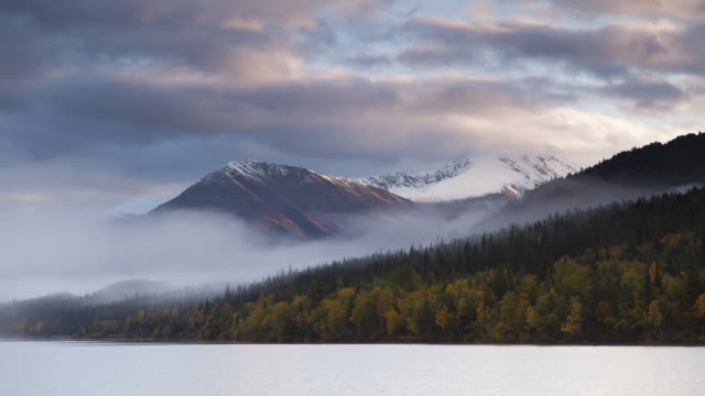 moving cloud time-lapse over upper trail lake, chugach national forest, alaska. - chugach national forest stock videos & royalty-free footage