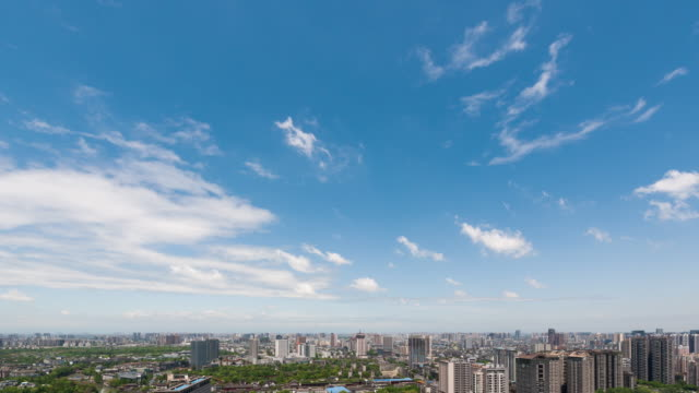 Moving clouds and blue sky above Chengdu city