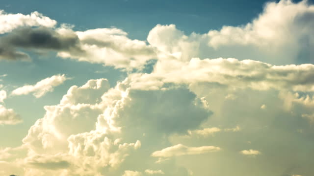 Moving clouds in the blue sky, time lapse