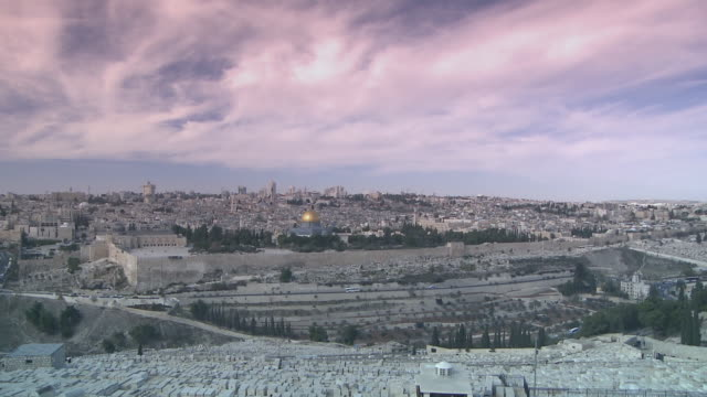 ws t/l moving clouds over at mt.of olives / jerusalem, central province, israel - sri lankan culture stock videos & royalty-free footage