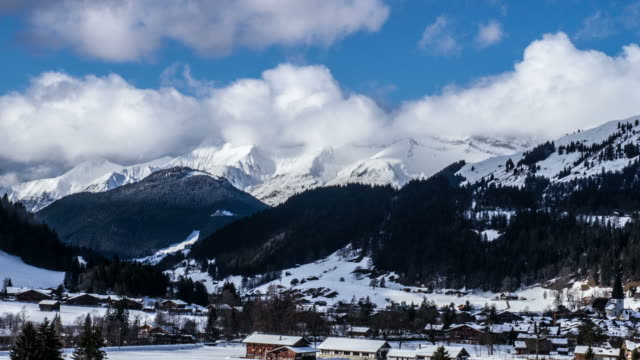 Moving Clouds Over Swiss Alps Time Lapse