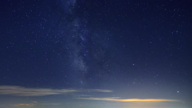 Moving Galaxy in the blue sky, from night to dawn, Timelapse